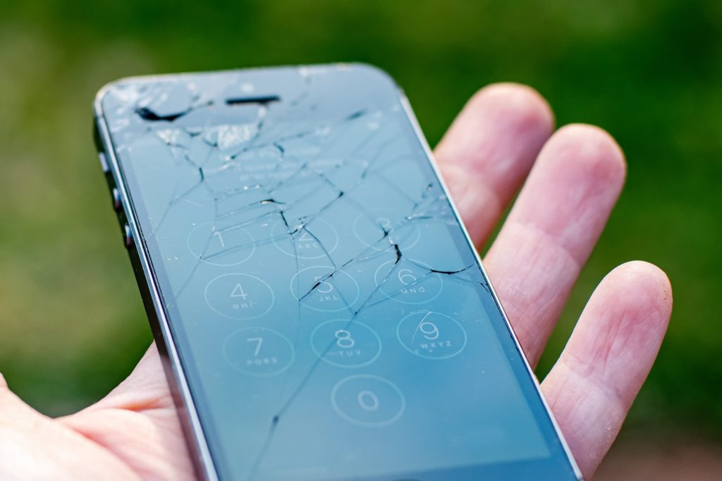 Broken phone with embedded insurance